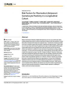 Risk Factors for Plasmodium falciparum Gametocyte Positivity in a ...