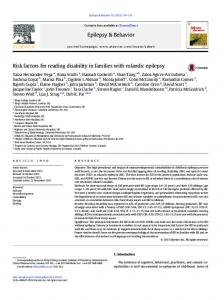 Risk factors for reading disability in families with ... - Epilepsy & Behavior