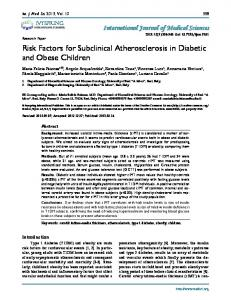 Risk Factors for Subclinical Atherosclerosis in Diabetic and Obese ...
