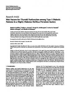 Risk Factors for Thyroid Dysfunction among Type 2 Diabetic Patients ...