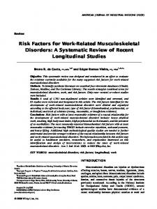 Risk factors for work-related musculoskeletal ... - Semantic Scholar