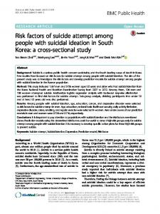 Risk factors of suicide attempt among people with