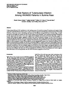 Risk Factors of Tuberculosis Infection Among HIV/AIDS Patients in ...