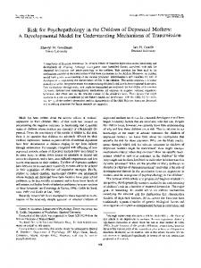 Risk for Psychopathology in the Children of Depressed Mothers: A ...
