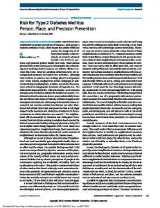 Risk for Type 2 Diabetes Mellitus Person, Place, and Precision ...