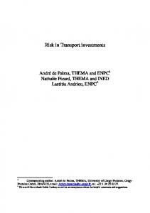 Risk in Transport investments