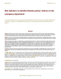 Risk indicators to identify intimate partner violence