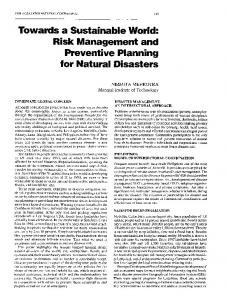 Risk Management and Preventive Planning for Natural Disasters