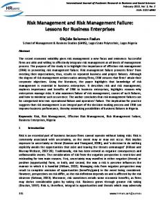 risk management and risk management failure: lessons for business ...