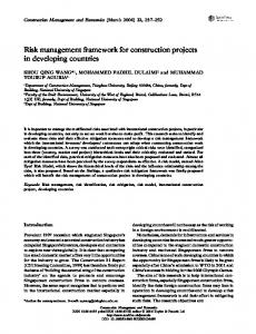 Risk management framework for construction projects ...