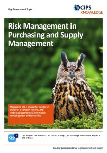 Risk Management in Purchasing and Supply Management