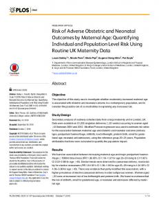 Risk of Adverse Obstetric and Neonatal Outcomes by Maternal ... - Plos