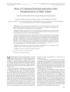 Risk of Continued Institutionalization After ... - Oxford Academic