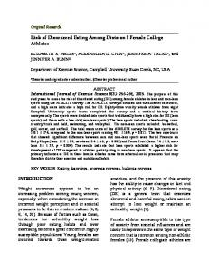 Risk of Disordered Eating Among Division I Female College Athletes