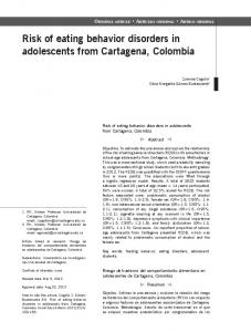 Risk of eating behavior disorders in adolescents from Cartagena ...
