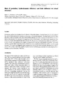 Risk of predation, hydrodynamic efficiency and their influence on ...