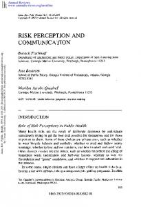 Risk Perception and Communication - rcfp