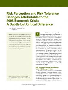 Risk Perception and Risk Tolerance Changes ... - FinaMetrica