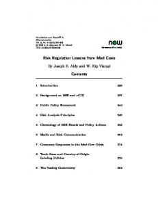 Risk Regulation Lessons from Mad Cows - Semantic Scholar