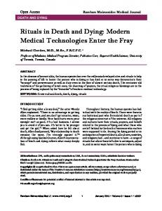 Rituals in Death and Dying: Modern Medical Technologies Enter the ...