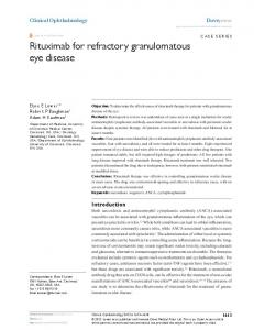 Rituximab for refractory granulomatous eye disease - BioMedSearch