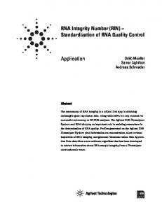 RNA Integrity Number (RIN) - Agilent