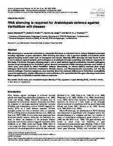 RNA silencing is required for Arabidopsis defence against Verticillium ...