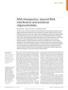 RNA therapeutics: beyond RNA interference and antisense ... - Nature