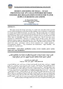 (ro) desalination system for water supply i