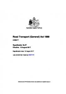 Road Transport (General) Act 1999 - ACT Legislation Register