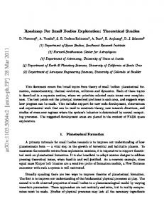 Roadmap For Small Bodies Exploration: Theoretical Studies