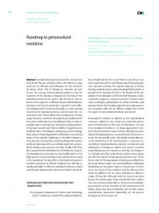 Roadmap to personalized medicine