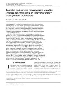 Roaming and service management in public wireless networks using ...