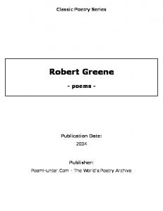 Robert Greene - poems - - PoemHunter.Com