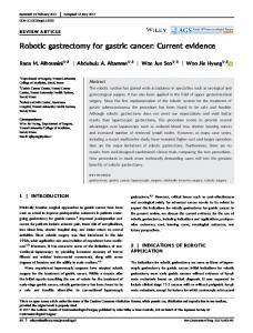 Robotic gastrectomy for gastric cancer: Current ... - Wiley Online Library