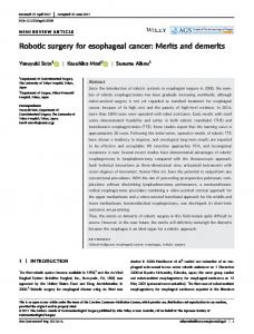 Robotic surgery for esophageal cancer: Merits ... - Wiley Online Library