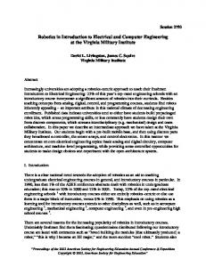 Robotics in Introduction to Electrical And Computer ... - 1 - VMI.edu