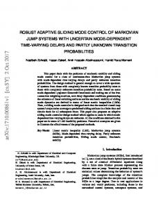 Robust Adaptive Sliding Mode Control of Markovian Jump Systems ...