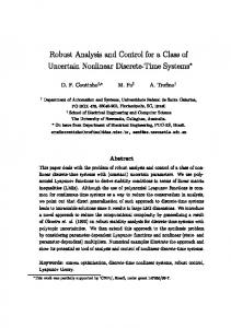 Robust Analysis and Control for a Class of ... - Semantic Scholar
