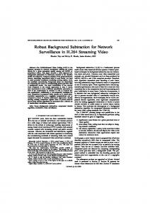 Robust Background Subtraction for Network ... - IEEE Xplore