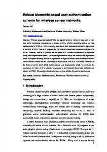 Robust biometric-based user authentication scheme for wireless ...