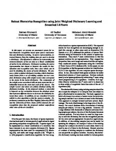 Robust Biometrics Recognition using Joint Weighted Dictionary ...