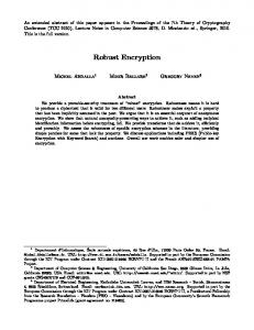 Robust Encryption - Cryptology ePrint Archive