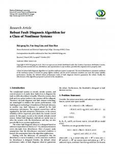 Robust Fault Diagnosis Algorithm for a Class of Nonlinear Systems