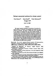 Robust numerical methods for robust control - Semantic Scholar