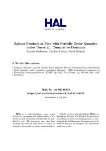 Robust Production Plan with Periodic Order Quantity under ... - Hal