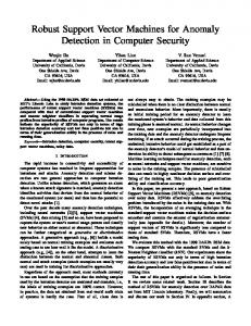 Robust Support Vector Machines for Anomaly Detection in Computer ...