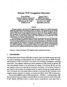 Robust TCP Congestion Recovery - Computer Science - College of ...