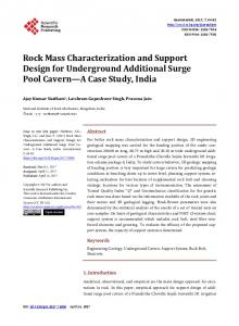 Rock Mass Characterization and Support Design for Underground ...