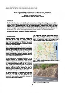Rock slope stability problems in Gold coast area, Australia N